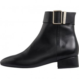 LEATHER SQUARE TOE MID HEEL BOOT TOMMY