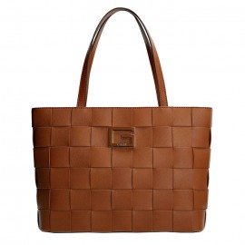 GUESS LIBERTY CITY TOTE ΓΥΝΑΙΚΕΙΑ ΤΣΑΝΤΑ ECO LEATHER COGNAC