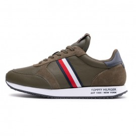 TOMMY HILFIGER RUNNER LO LEATHER STRIPES SNEAKERS ARMY GREEN