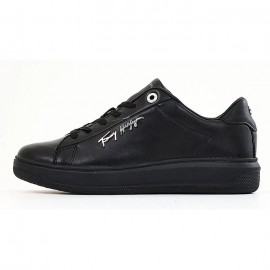 TOMMY HILFIGER SIGNATURE LEATHER SNEAKER BLACK