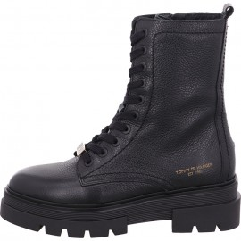 TOMMY HILFIGER MONOCHROMATIC LACE UP BOOT WOMEN LEATHER BLACK