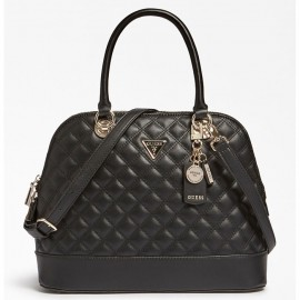 GUESS CESSILY DOME SATCHEL ΓΥΝΑΙΚΕΙΑ ΤΣΑΝΤΑ ΔΕΡΜΑ/ECO LEATHER ΜΑΥΡΗ