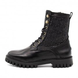 TOMMY HILFIGER MONOGRAM LACE UP BOOT LEATHER WOMEN BLACK