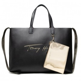 ICONIC TOMMY TOTE BAG SIGN ECO LEATHER BLACK
