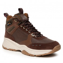 TOMMY HILFIGER HIGH SNEAKER BOOT LEATHER MEN ARMY GREEN