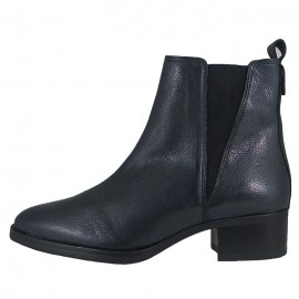 LADIES ANKLE BOOTS LEATHER UPPER SYNTHTIC SOLE STROMBOLI NERO