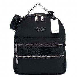 REPLAY RECYCLED POLY BACKPACK WITH CROC PRINT DETAILS  BLACK