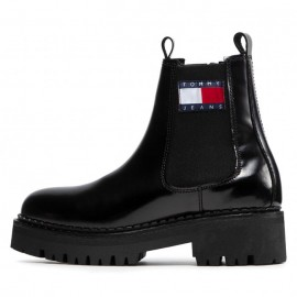 URBAN TOMMY JEANS CHELSEA BOOT WOMEN LEATHER BLACK